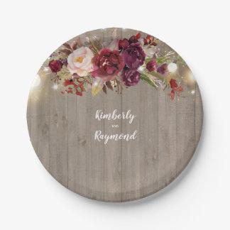 Assiettes En Papier Rustique floral de Bourgogne