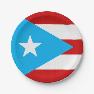 Assiettes En Papier Serviette de drapeau de Porto Rico de bleu de ciel