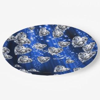 Assiettes En Papier Serviettes bleues de coeurs de diamant d'étincelle