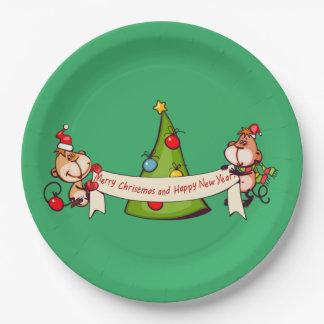 Assiettes En Papier Singes de Joyeux Noël et de bonne année