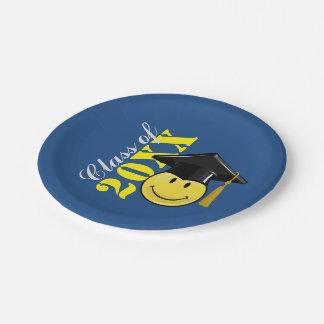 Assiettes En Papier Smiley jaune classique avec un casquette