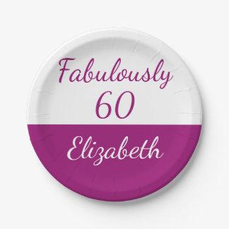 Assiettes En Papier soixantième Rose fabuleusement 60 d'anniversaire