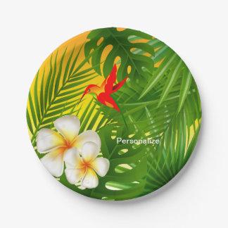 Assiettes En Papier Soleil tropical avec un petit colibri