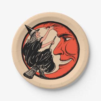 Assiettes En Papier sorcière vintage de Halloween des années 1920