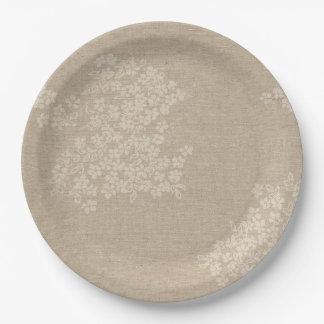 Assiettes En Papier Toile de jute rustique avec la fleur antique