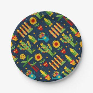 Assiettes En Papier Tournesol de cactus sur le motif bleu de Festa