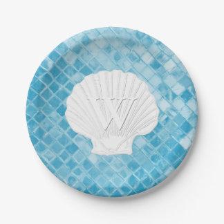 Assiettes En Papier Verre bleu de mer de monogramme de Shell de feston