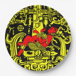 Assiettes En Papier Version jaune et rouge d'astronaute antique -