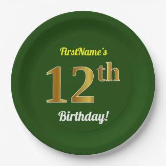 Assiettes En Papier Vert, anniversaire d'or de Faux 12ème + Nom fait