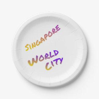 Assiettes En Papier Ville du monde de Singapour, art coloré des textes