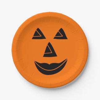 Assiettes En Papier Visage de citrouille de Halloween