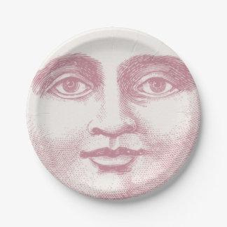 Assiettes En Papier Visage de lune vintage dans le rose