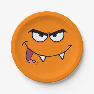 Assiettes En Papier Visage de smiley de monstre de crocs de Halloween
