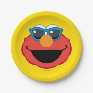 Assiettes En Papier Visage de sourire d'Elmo avec des lunettes de