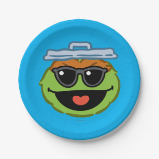 Assiettes En Papier Visage de sourire d'oscar avec des lunettes de