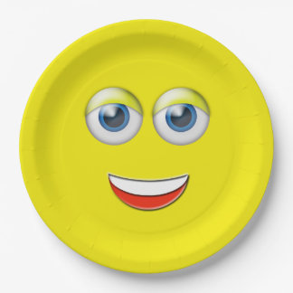 Assiettes En Papier Visage heureux Emoji