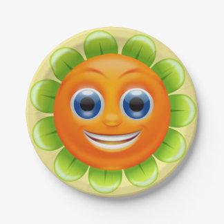 Assiettes En Papier Visage souriant de fleur ronde personnalisé