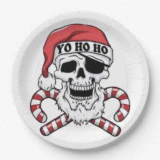 Assiettes En Papier Yo ho ho - pirate père Noël - le père noël drôle