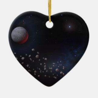 Asteroïdes et planètes d'espace ornement cœur en céramique