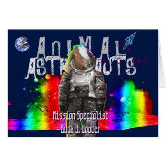 Astronaute animal dans la chèvre d'univers carte de vœux