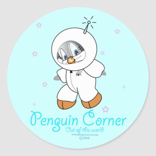 Astronaute de pingouin de penny adhésifs ronds