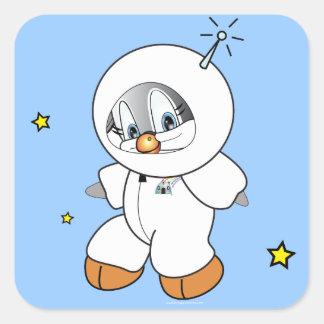 Astronaute de pingouin de penny autocollant carré