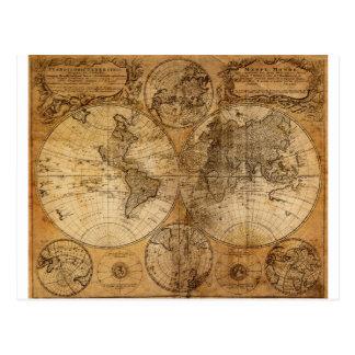 Atlas vintage de carte du monde carte postale