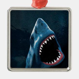 Attaque de requin ornement carré argenté