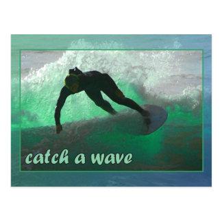 Attrapez une vague ! carte postale