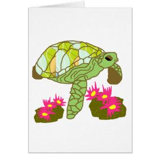 Au-dessus de la carte rose de tortue de mer