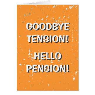 Au revoir carte de voeux de pension de tension