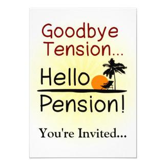 Au revoir tension, bonjour retraite drôle de carton d'invitation  12,7 cm x 17,78 cm