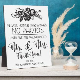 Aucune plaque de cérémonie de mariage de photos de