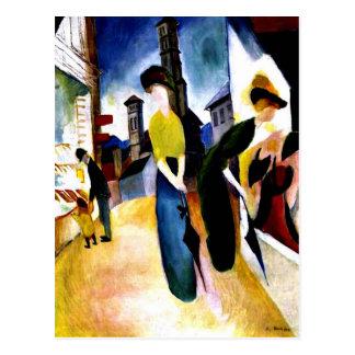 August Macke - deux femmes devant une chapellerie Carte Postale