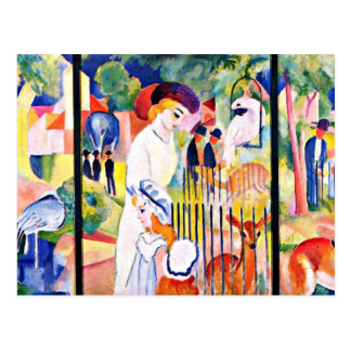 August Macke - grand zoo, peinture d'August Macke Carte Postale