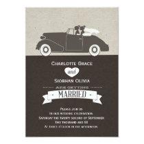 Auto Twee van het huwelijk het Lesbische Huwelijk Uitnodigingen