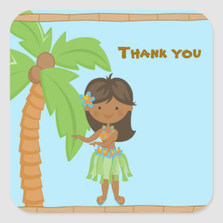 Autocollant adorable de Merci de fille de Luau
