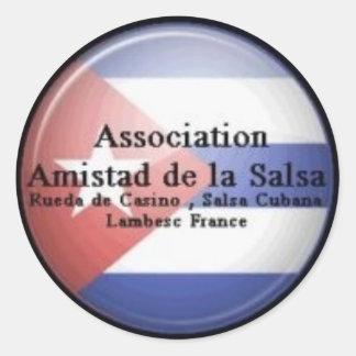 autocollant Amistad de la Salsa fond drapeau Cuba