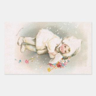 Autocollant antique de bébé de neige d'hiver