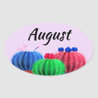 Autocollant avec le cactus pour août