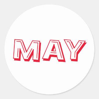 Autocollant blanc rouge de soupe à alphabet de mai