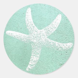 Autocollant bleu et blanc d'étoiles de mer
