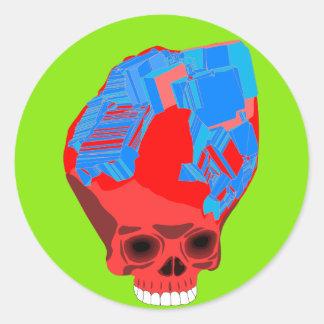 autocollant bleu rouge de crâne