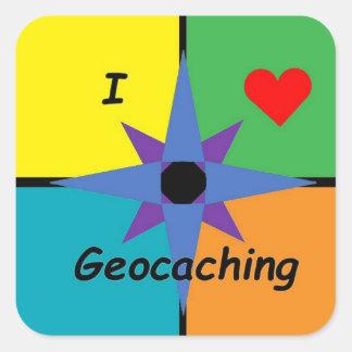 Autocollant carré de Geocaching
