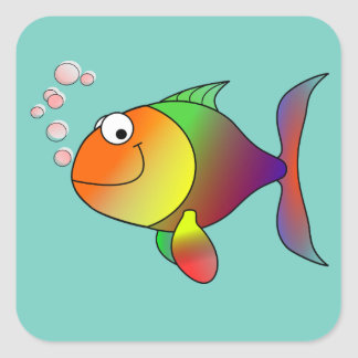 Autocollant coloré de poissons