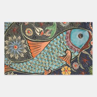 Autocollant coloré de poissons de mosaïque