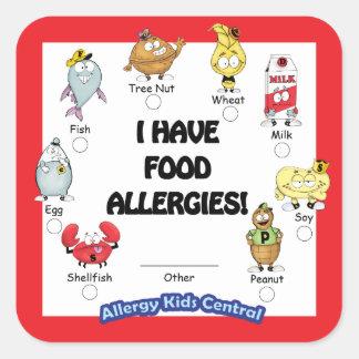 Autocollant d'allergie alimentaire