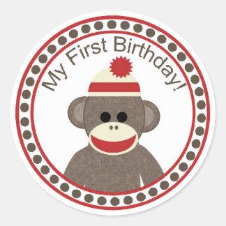 Autocollant d'anniversaire de singe de chaussette