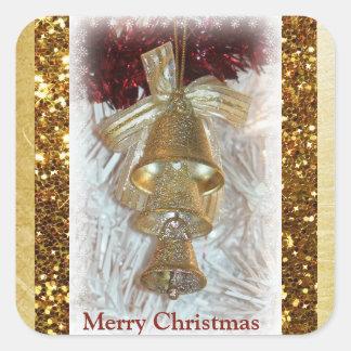 Autocollant de Bells d'or de Joyeux Noël