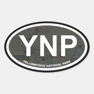 Autocollant de carte de Yellowstone (texte blanc)